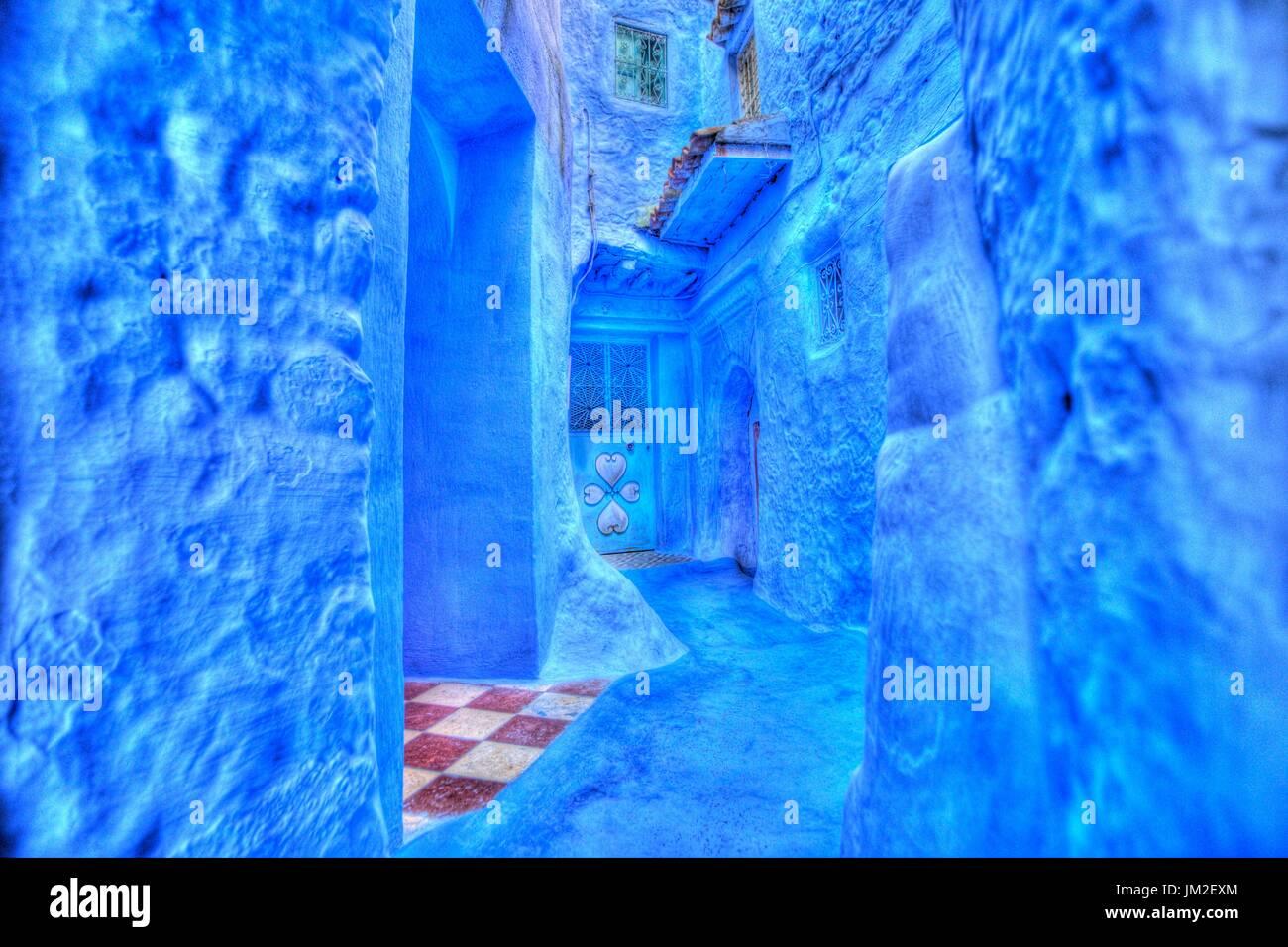 Die blaue Stadt, Marokko Stockbild
