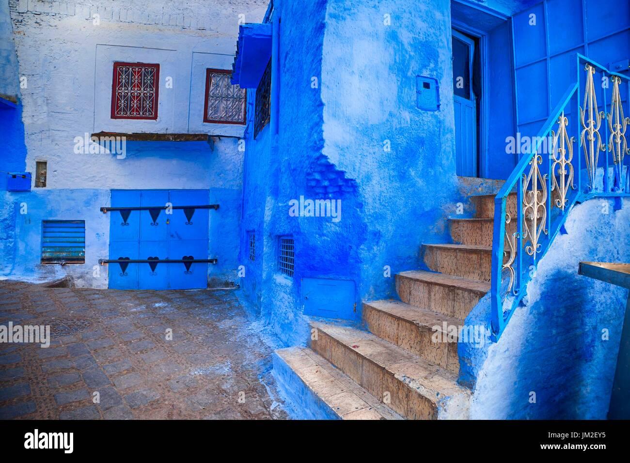 Die blaue Stadt, Marokko Stockfoto