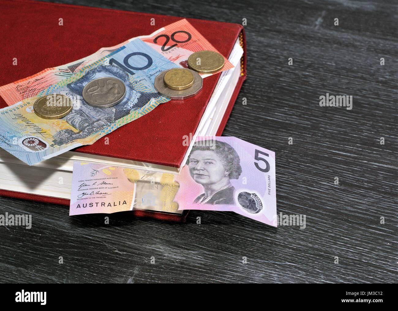 Australische Dollar Australische Münzen Buch Auf Dem Tisch Dollar