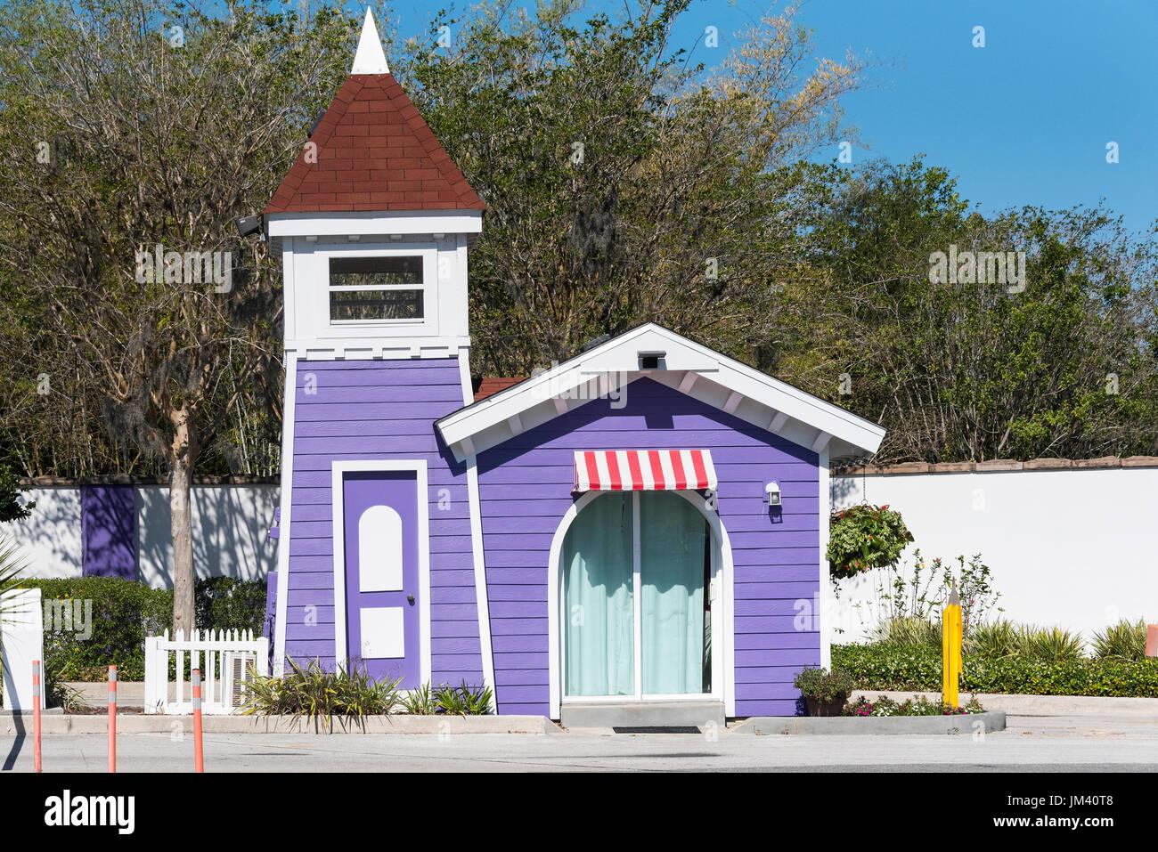 """Eintritt in die """"Kinder der Welt geben"""" Feriendorf in Kissimmee Florida. Stockbild"""