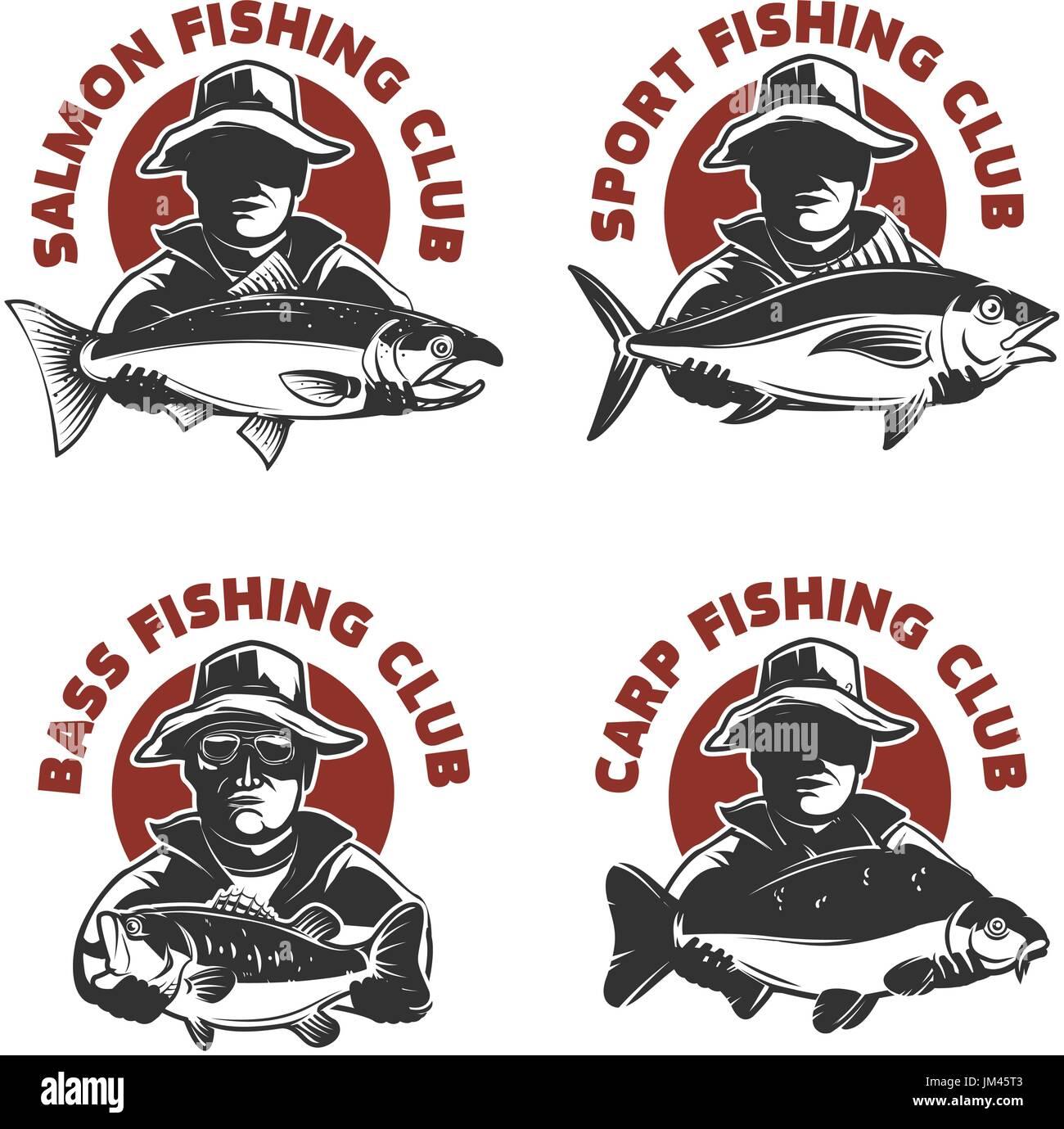 Satz von Fischen Club-Etiketten-Vorlagen. Fischer-Silhouette mit ...