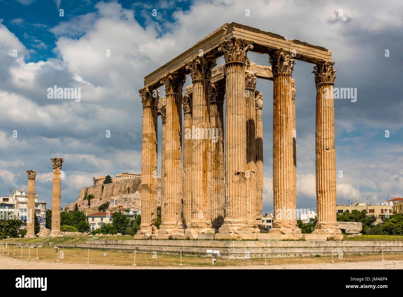 Tempel des Olympischen Zeus oder Olympieion, Athen, Attika, Griechenland Stockbild