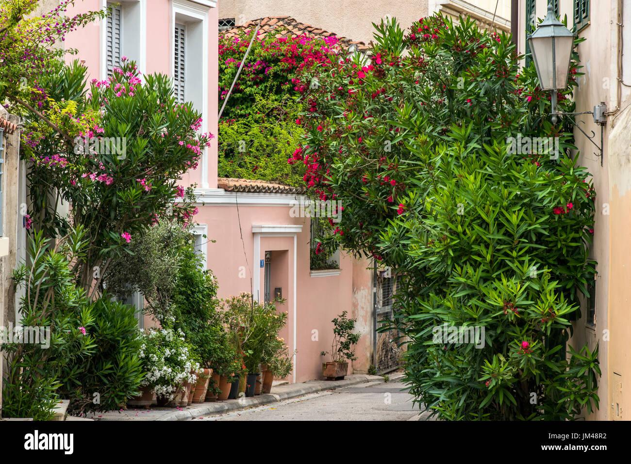 Malerische Ecke des Stadtteils Anafiotika, Athen, Attika, Griechenland Stockbild