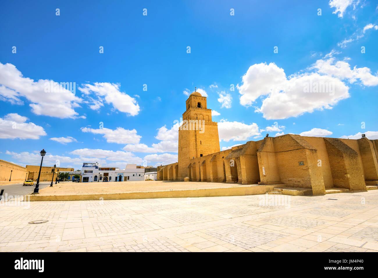 Blick auf die große Moschee in Kairouan. Tunesien, Nordafrika Stockbild