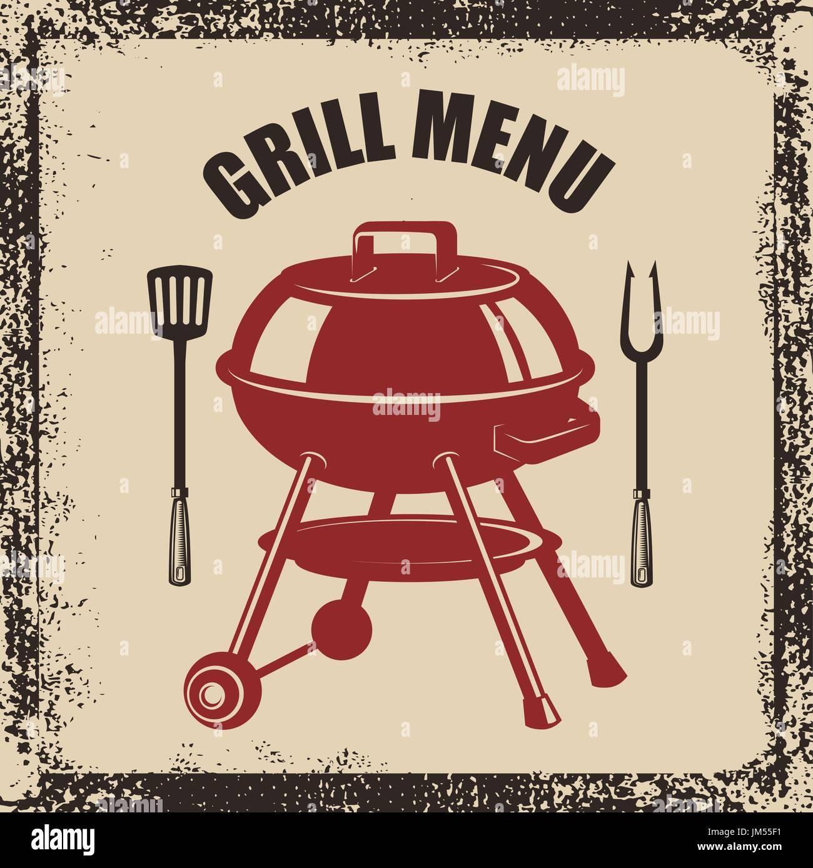 Grill-Menü. Küche, Grill und Gabel Spachtel auf Grunge Hintergrund ...