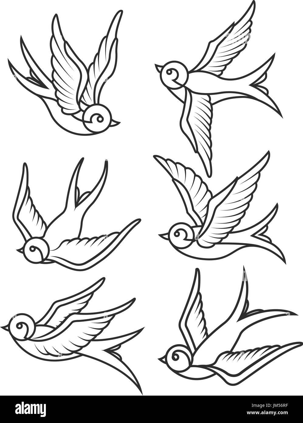 Satz Von Schwalbe Tattoo Vorlagen Isoliert Auf Weißem Hintergrund