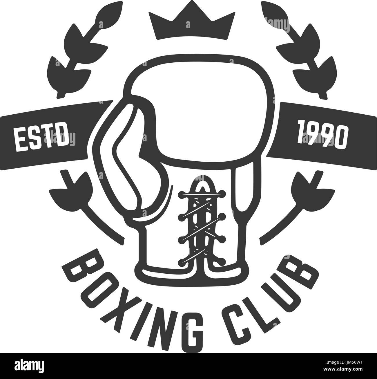 Boxing Club-Emblem Vorlage. Boxhandschuh. Gestaltungselement für ...