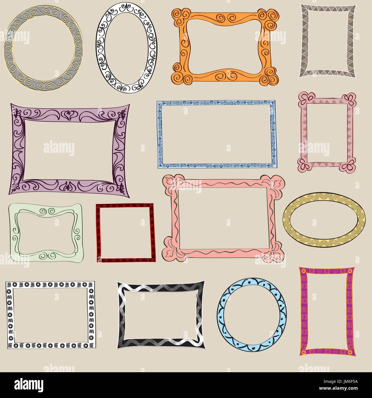 Einstellen der netten Rahmen. Viktorianische Ornamente Fotorahmen in ...