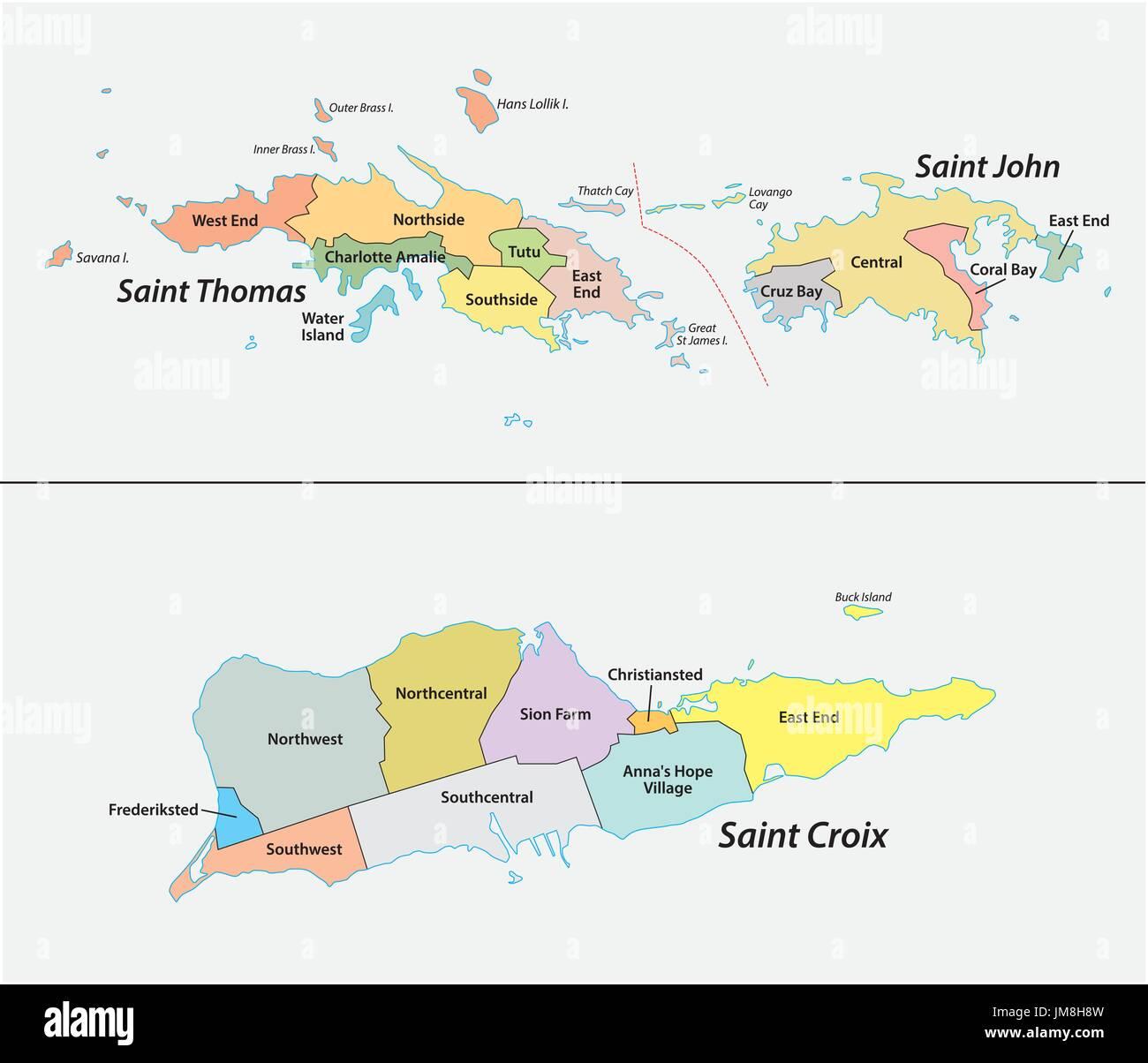: Karte der Bezirke und Distrikte der United States Virgin Islands Stockbild