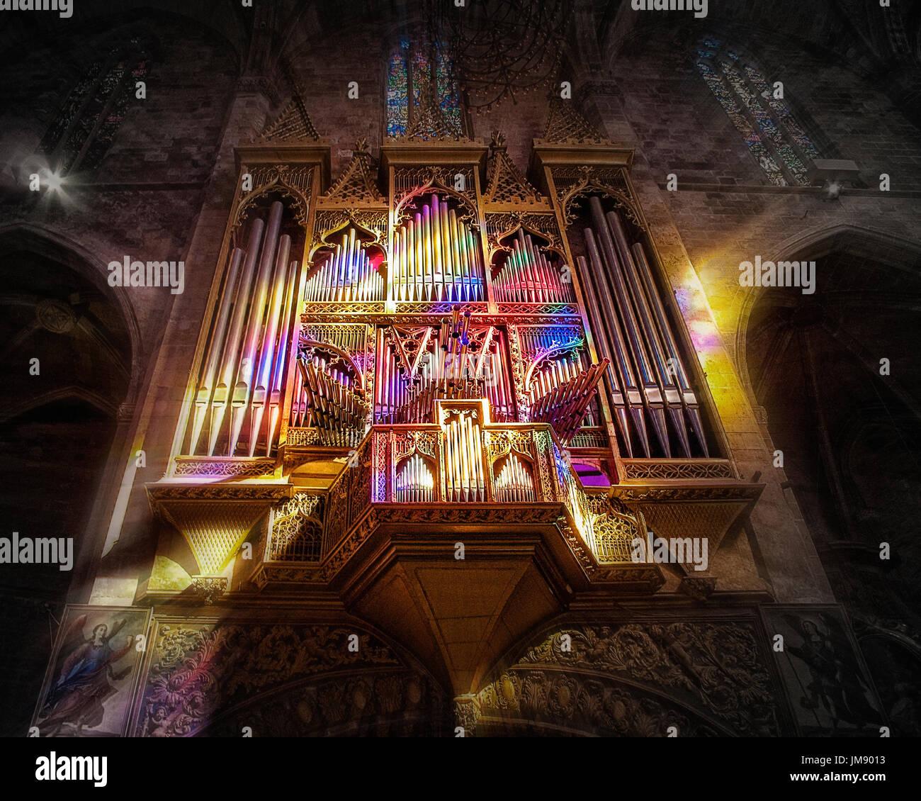 ES - MALLORCA: Blick auf die herrliche Orgel Kathedrale La Seu, Palma Stockbild