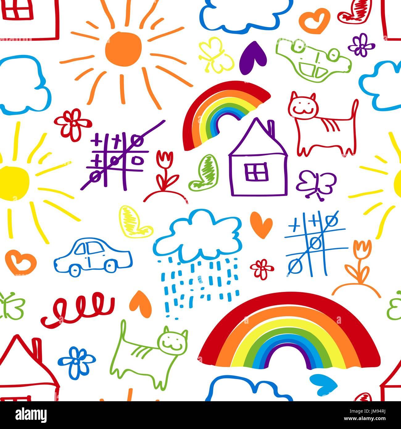 Kinder Malen Hintergrund Zeichnung Eines Kindes Musterdesign Vektor