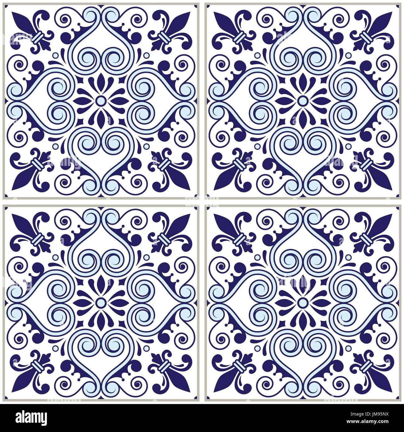 Portugiesische Fliesen Muster - Azulejo Marineblau Design, nahtlose Vektor blauen Hintergrund, Vintage Mosaiken Stock Vektor
