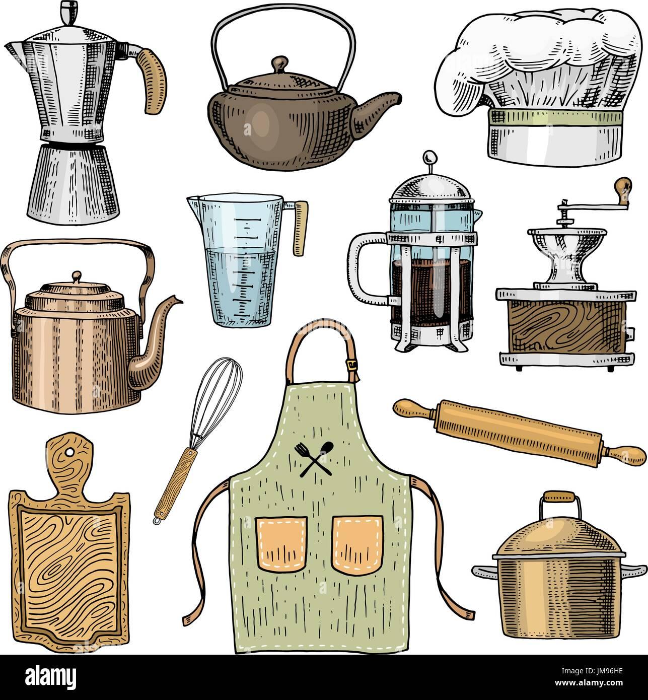 kaffeemaschine oder m hle franz sisch dr cken nudelholz und topf holzbrett koch und. Black Bedroom Furniture Sets. Home Design Ideas