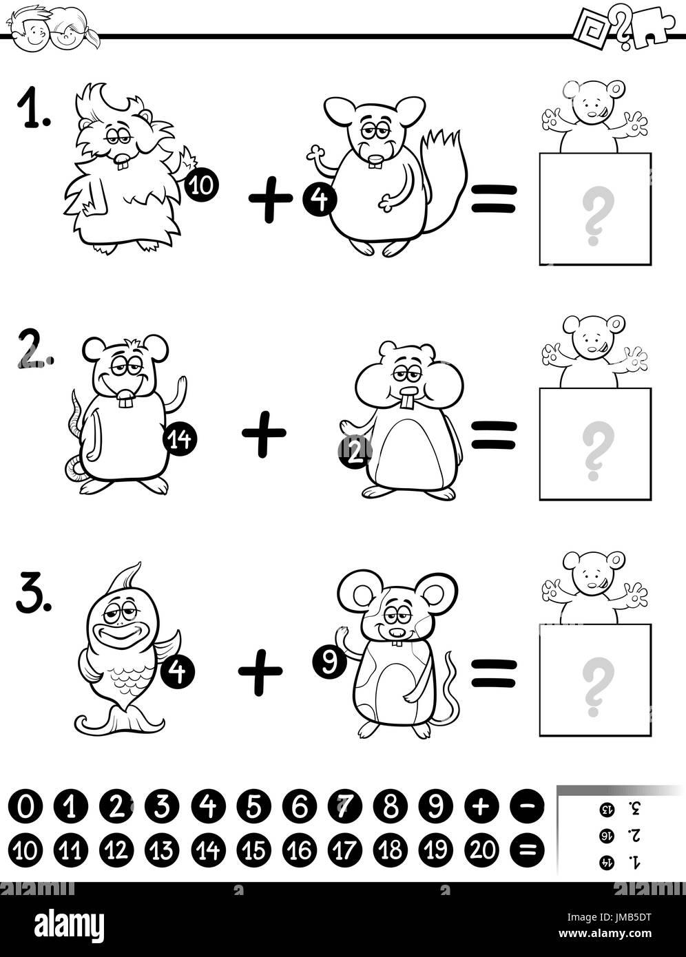 Schwarz / Weiß Cartoon Illustration der pädagogischen mathematische ...
