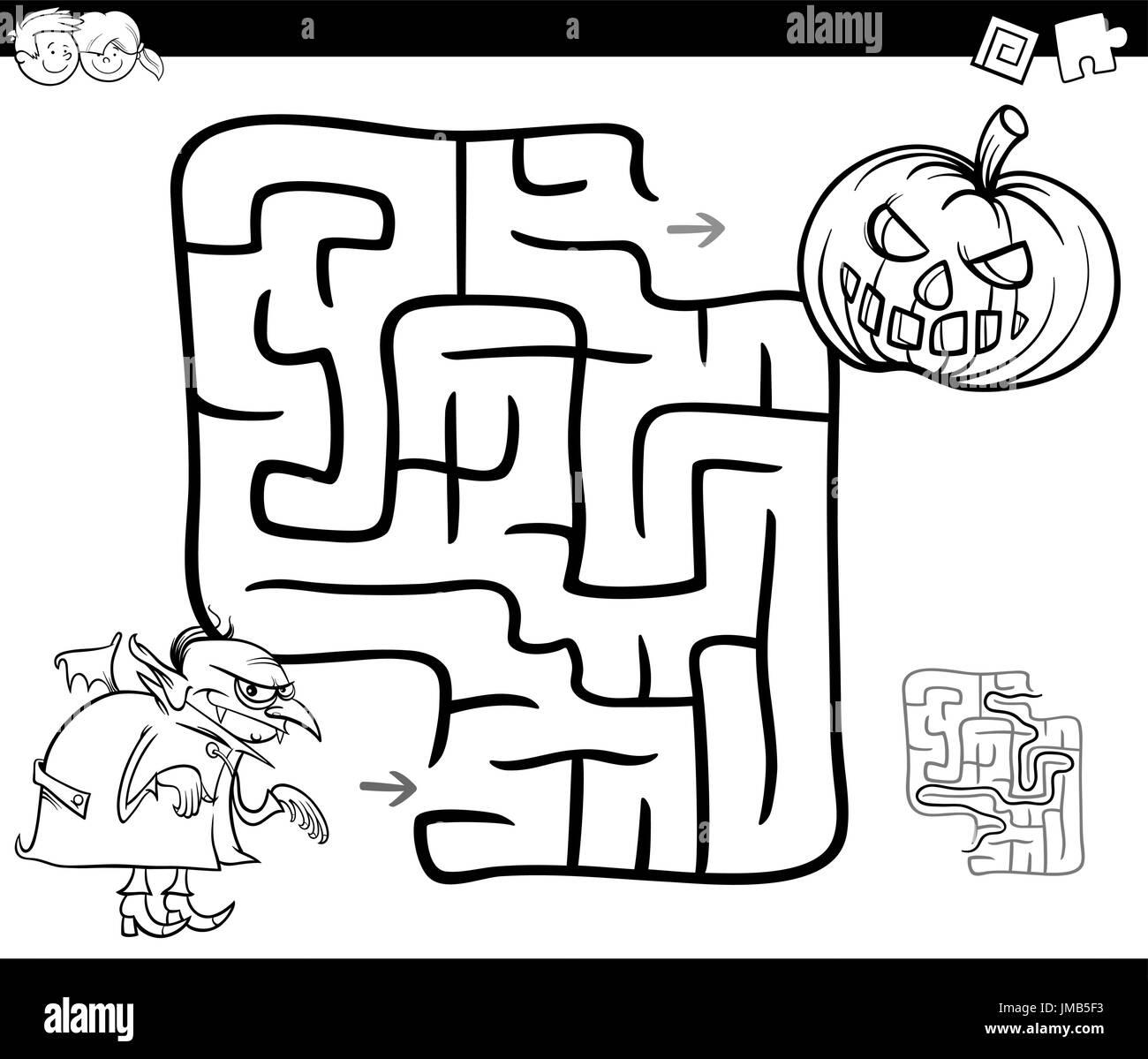 Schwarz / Weiß Cartoon Illustration der Bildung Irrgarten oder ...