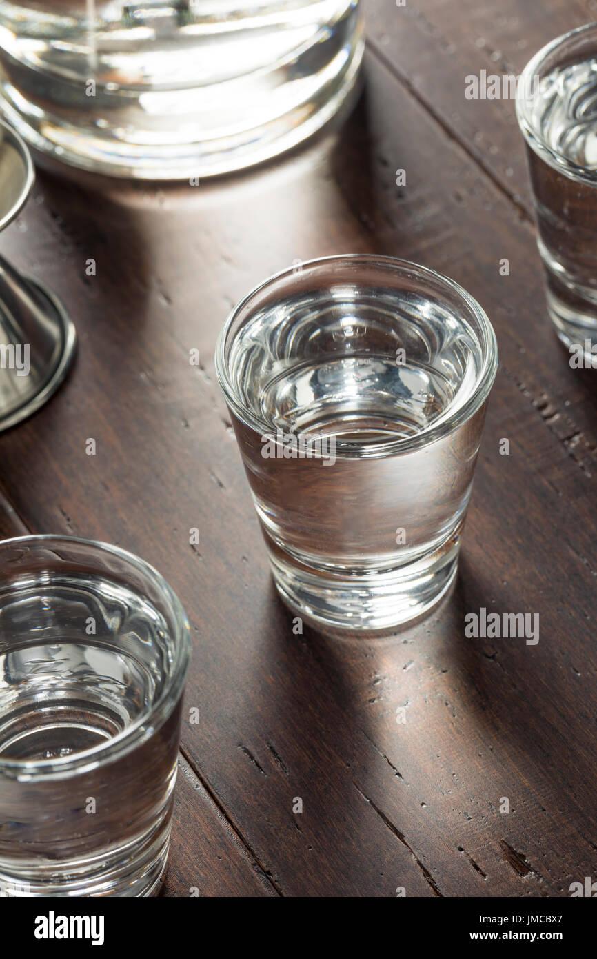 Klar alkoholische russischer Wodka Shots bereit zu trinken Stockbild