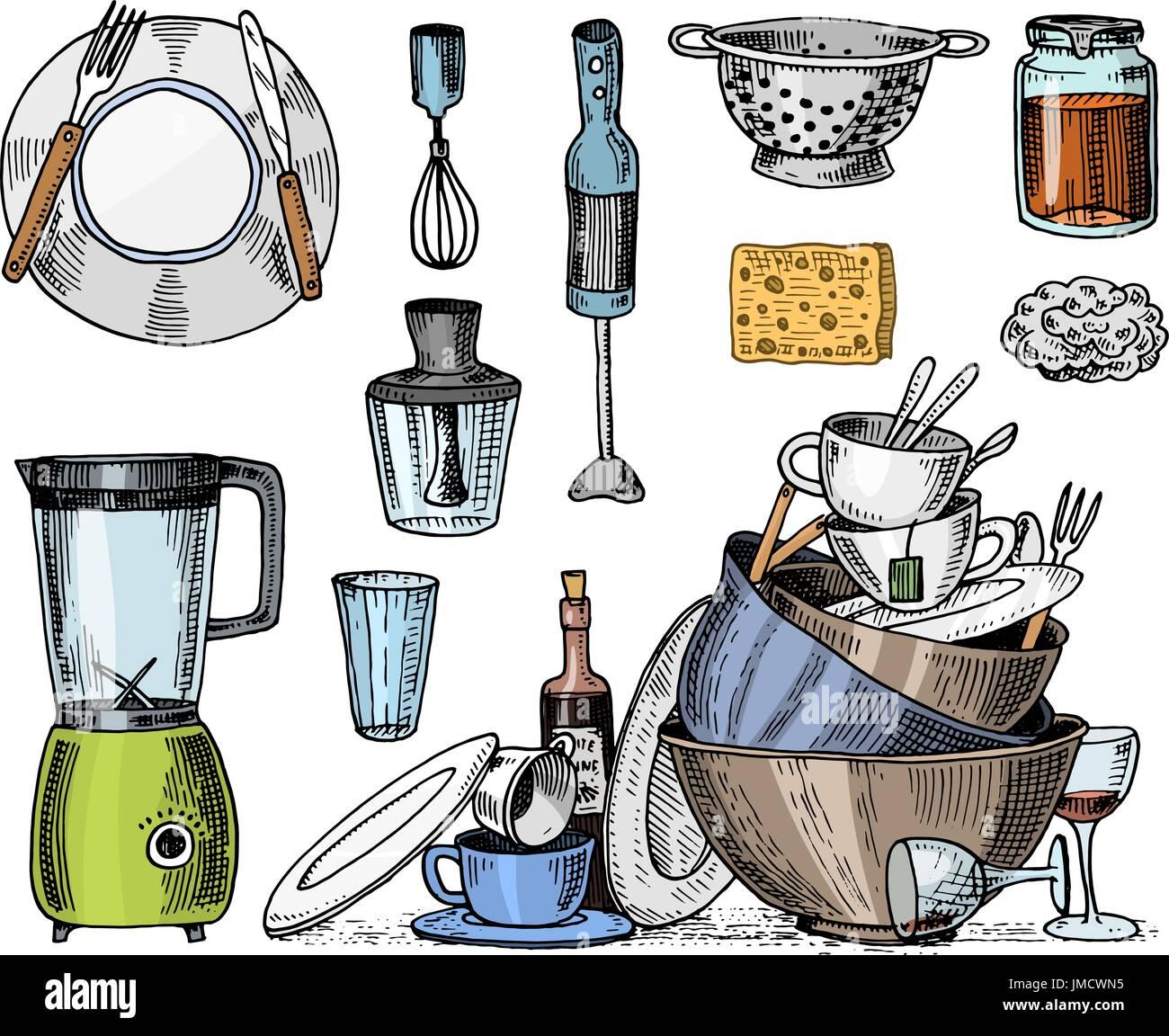 sieb mixer und entsafter schmutziges geschirr jam und schwamm waschen koch und schmutzigen. Black Bedroom Furniture Sets. Home Design Ideas