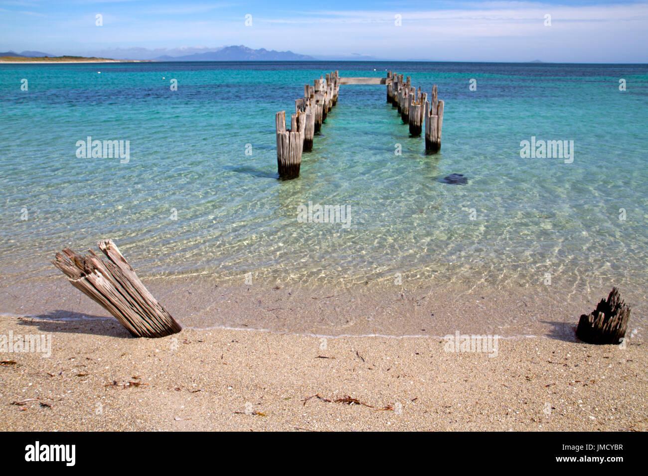 Alten Pier an der Lilien-Bucht in der Nähe von Leben auf Flinders Island Stockbild