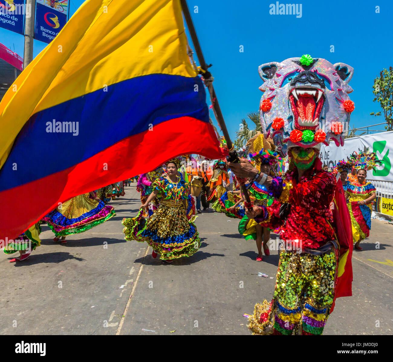 Barranquilla, Kolumbien - 26. Februar 2017: Menschen, die Teilnahme an der Parade der Karneval von Barranquilla Atlantico Kolumbien Stockbild