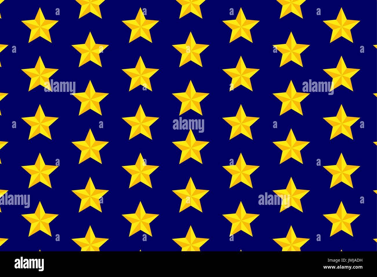 Gelben, fünfzackigen Stern auf blauem Hintergrund - Vektormuster ...
