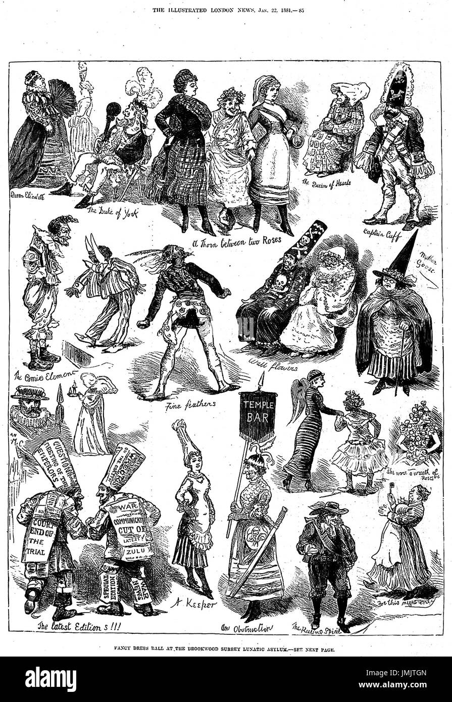 FANCY DRESS BALL BROOKWOOD LUNATIC ASYLUM wie gezeigt in der Illustrated London News im Januar 1881 Stockbild