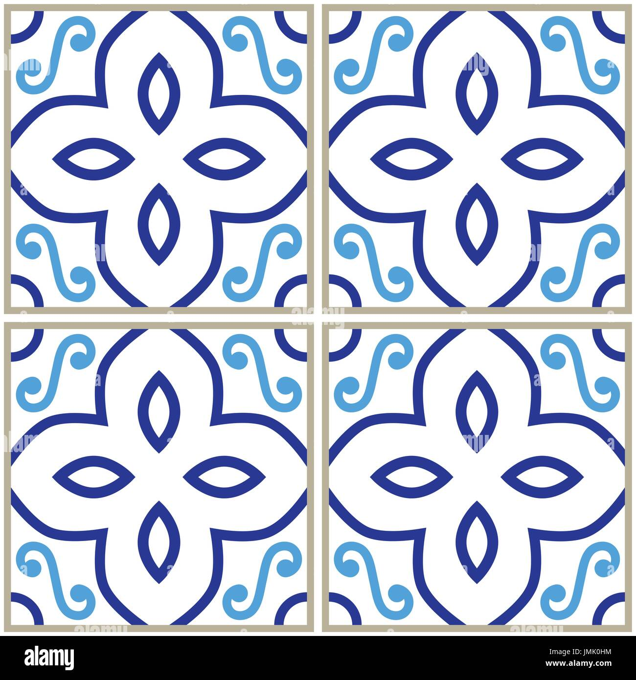 Fliesen Muster, Spanischen Oder Portugiesischen Fliesen Blau Hinterlegt,  Geometrischen Mustern
