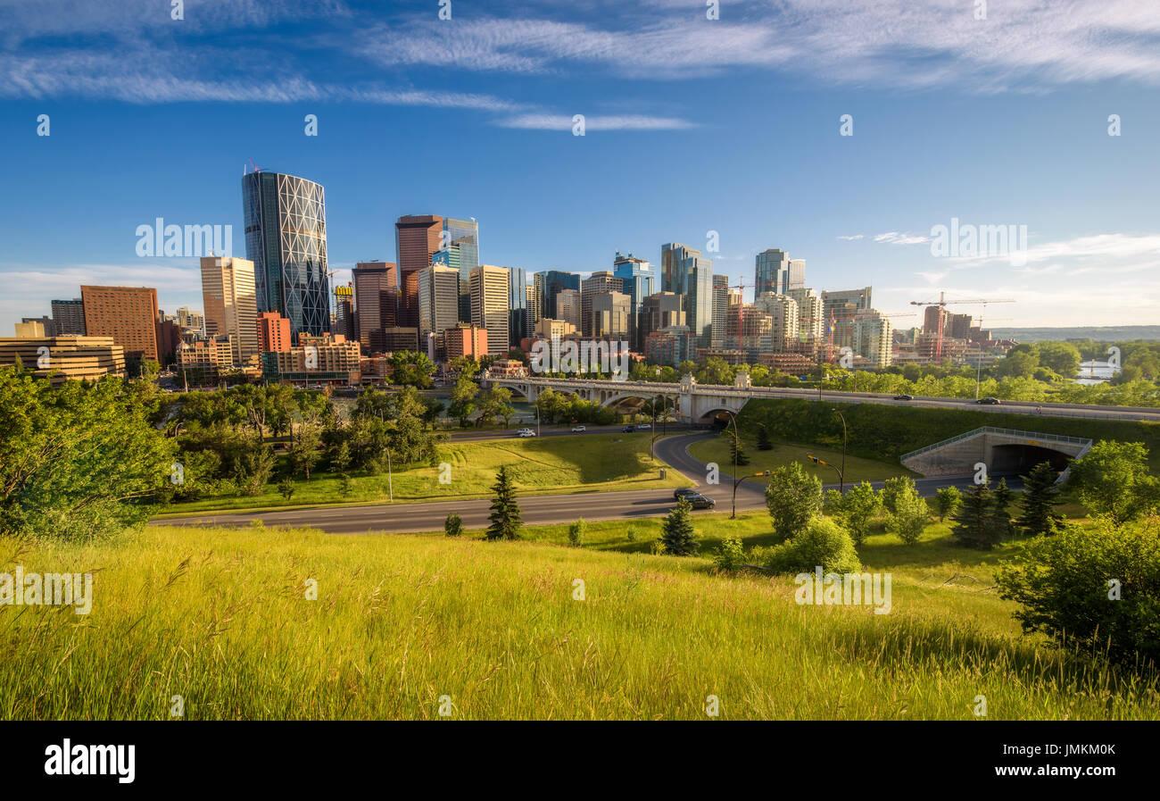 City Skyline von Calgary, Alberta, Kanada Stockbild
