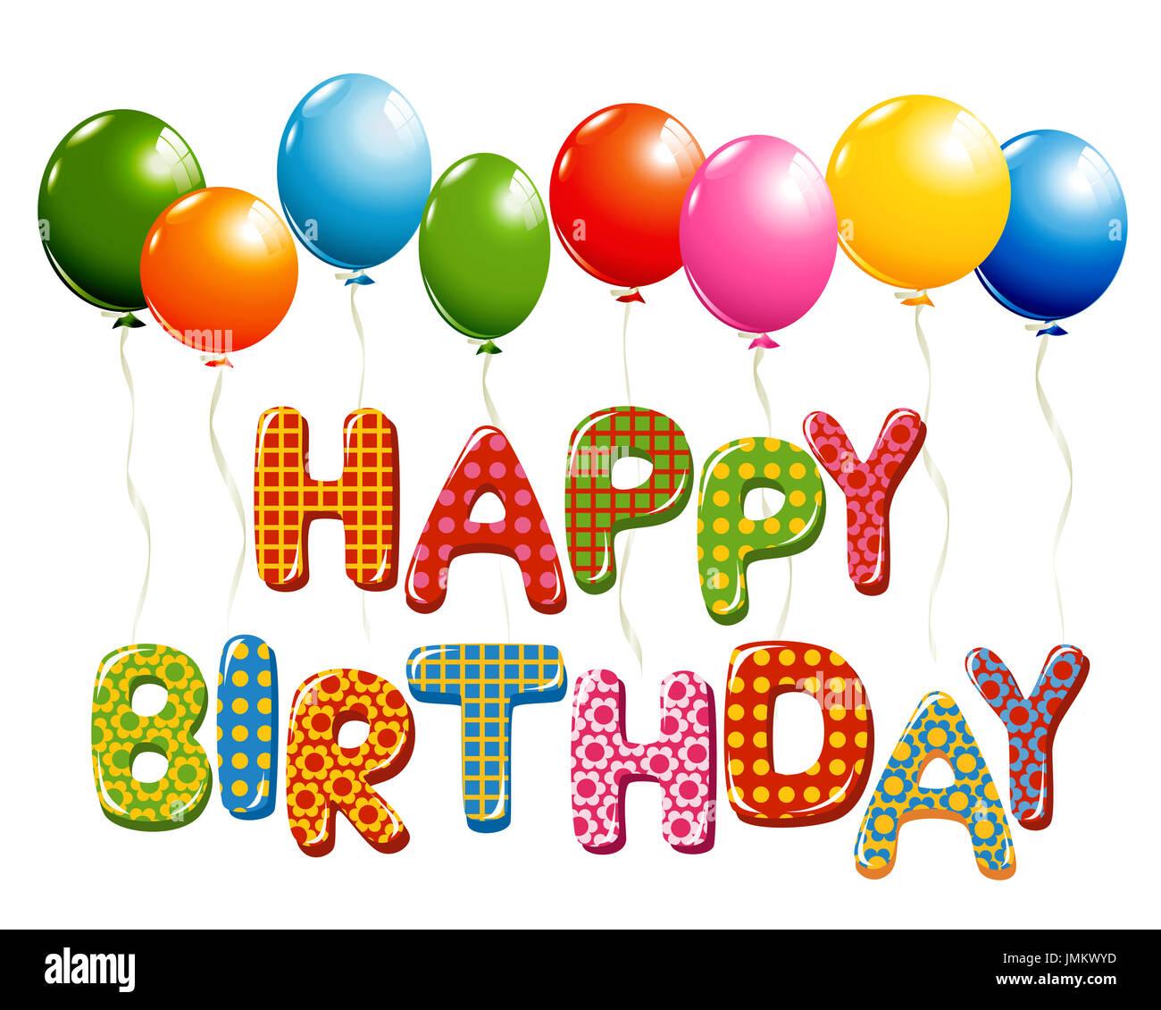 happy birthday letters mit luftballons stockfoto bild 150413521 alamy. Black Bedroom Furniture Sets. Home Design Ideas