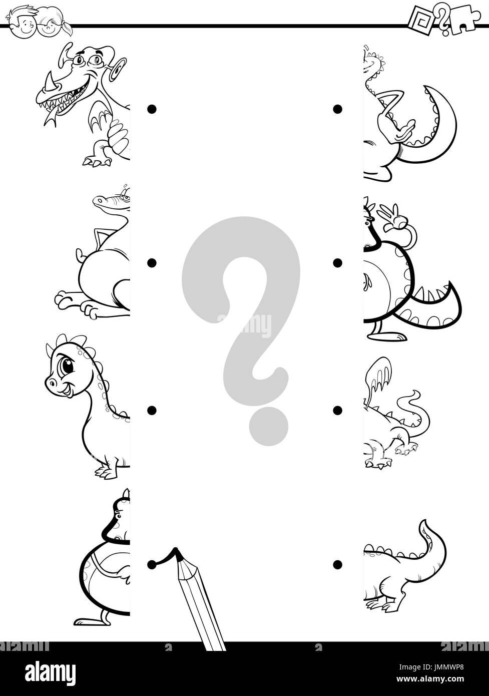 Schwarz / Weiß Cartoon Illustration von Lernspiel der passenden ...