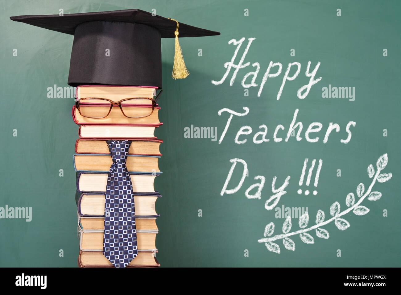 Glückliche Lehrer Tag lustige Konzept Stockbild