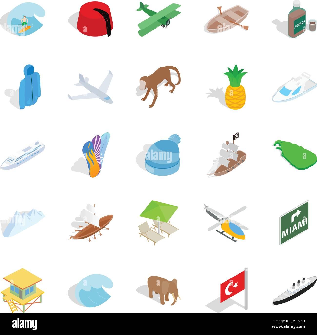 Totale Icons Set, isometrische Stil Stockbild