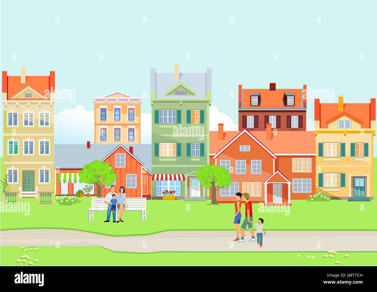 Blick auf die Stadt im Sommer Stockbild
