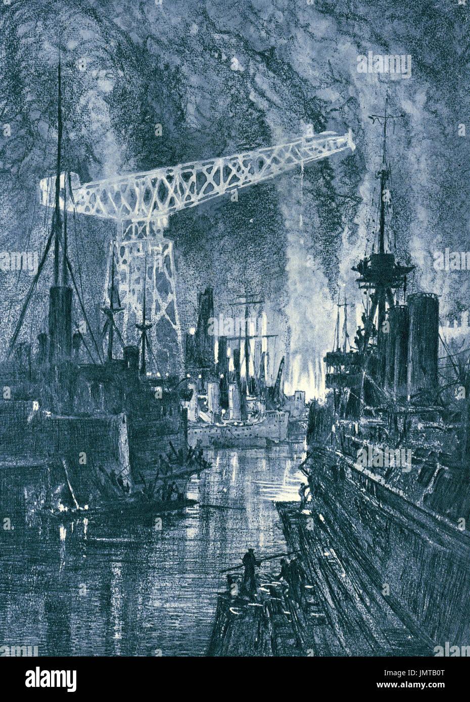 Schiffsbau bei Nacht, ww1 Stockbild