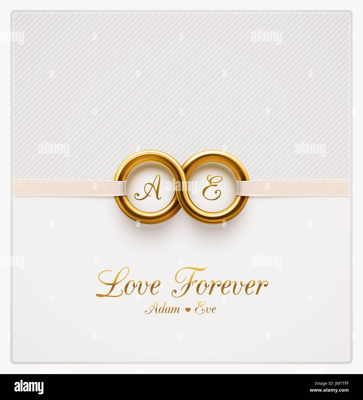 Liebe für immer, Hochzeitseinladung, Eps 10 Stockbild