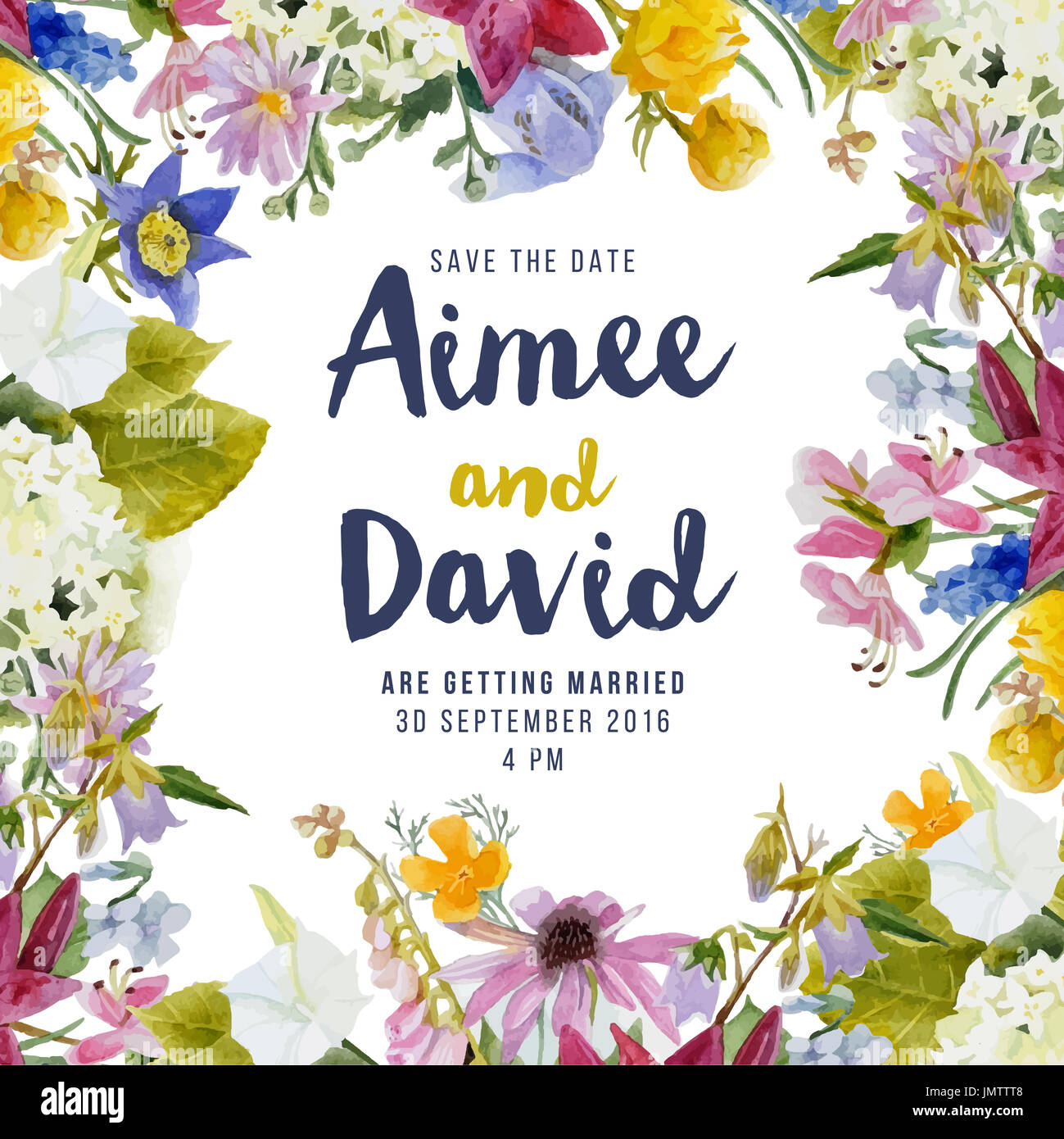 Hochzeit Einladungskarte Mit Aquarell Blumen Stockfoto Bild