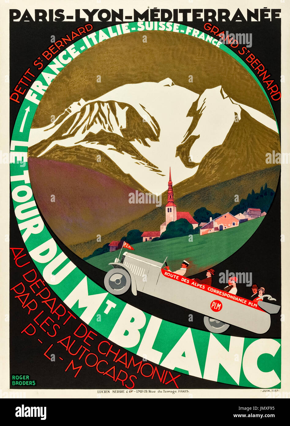 """Le Tour Du Mt Blanc – Route des Alpes"" 1927 Tourismus Poster mit Tour Passagiere genießen die Great Alpine Road Stockfoto"