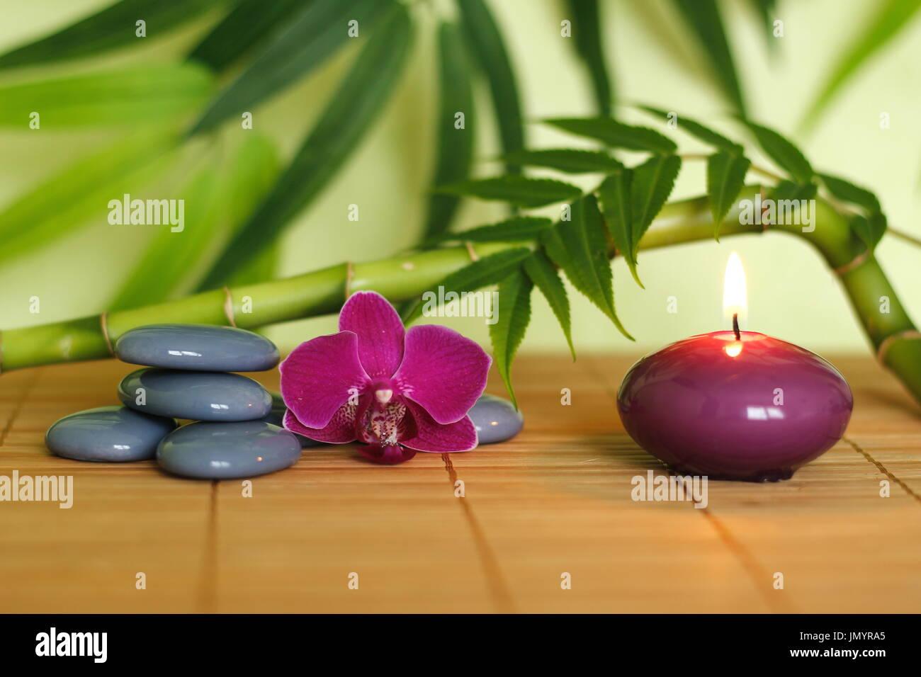 Grauen Steinen Angeordnet In Zen Lebensstil Mit Einer Orchidee Eine