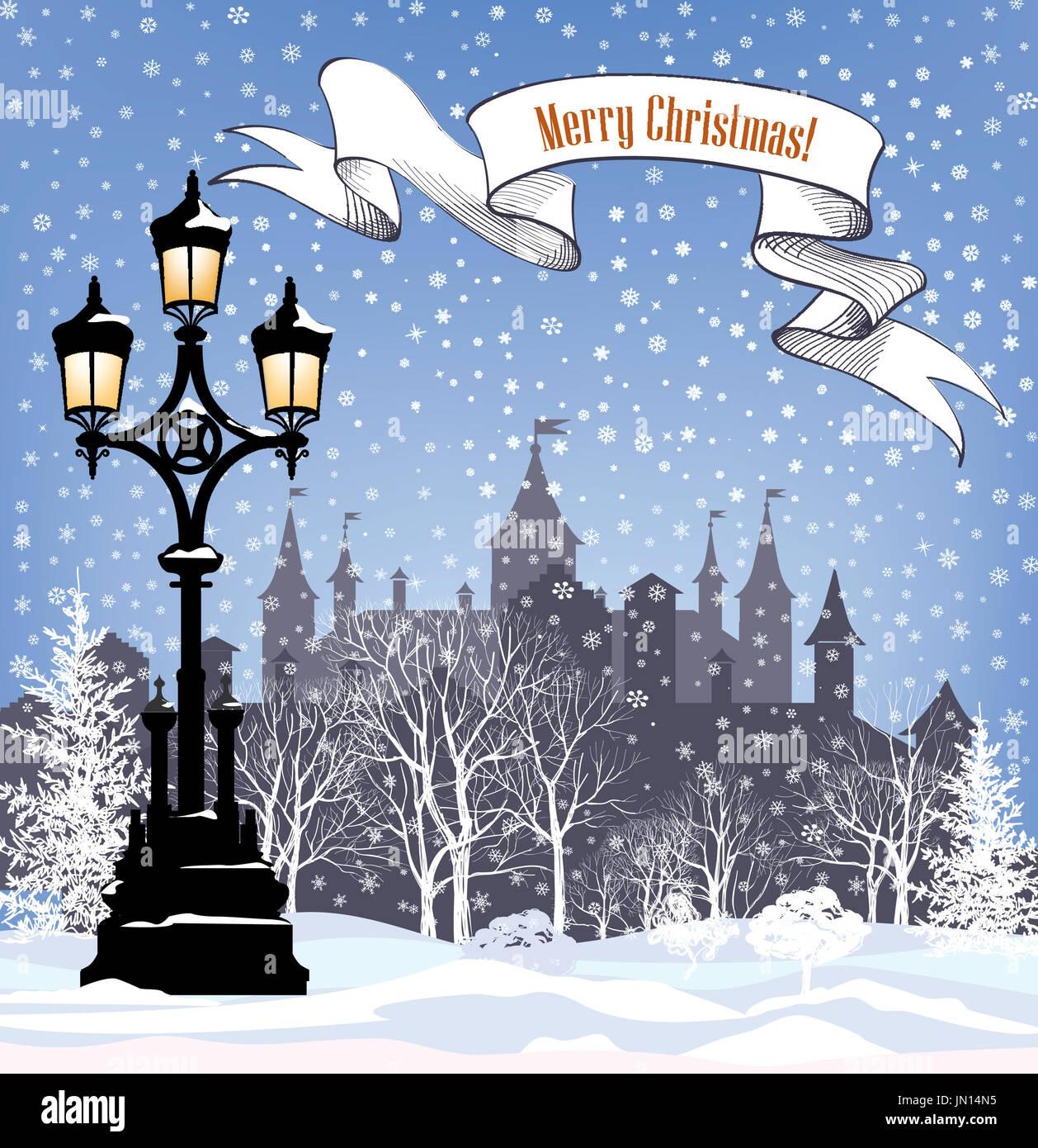 Winterurlaub Schnee Hintergrund. frohe Weihnachten Grußkarte ...