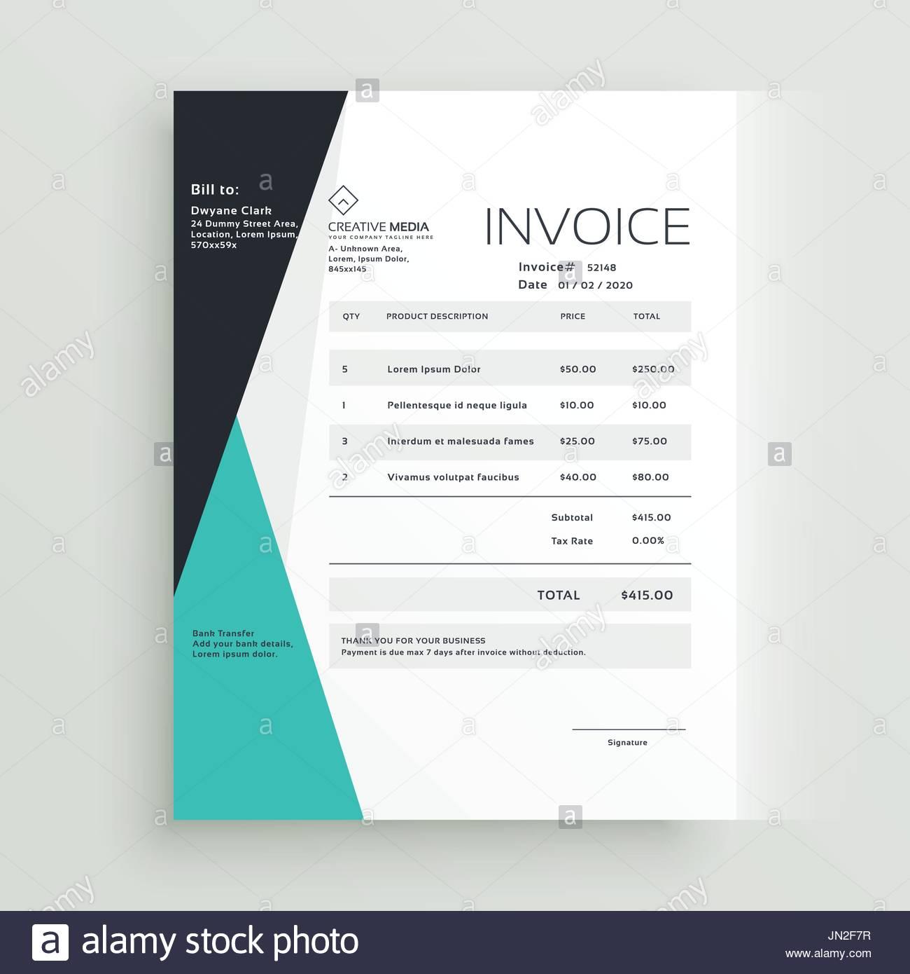 Elegante Business Rechnung Vorlage Kreatives Design Vektor Abbildung