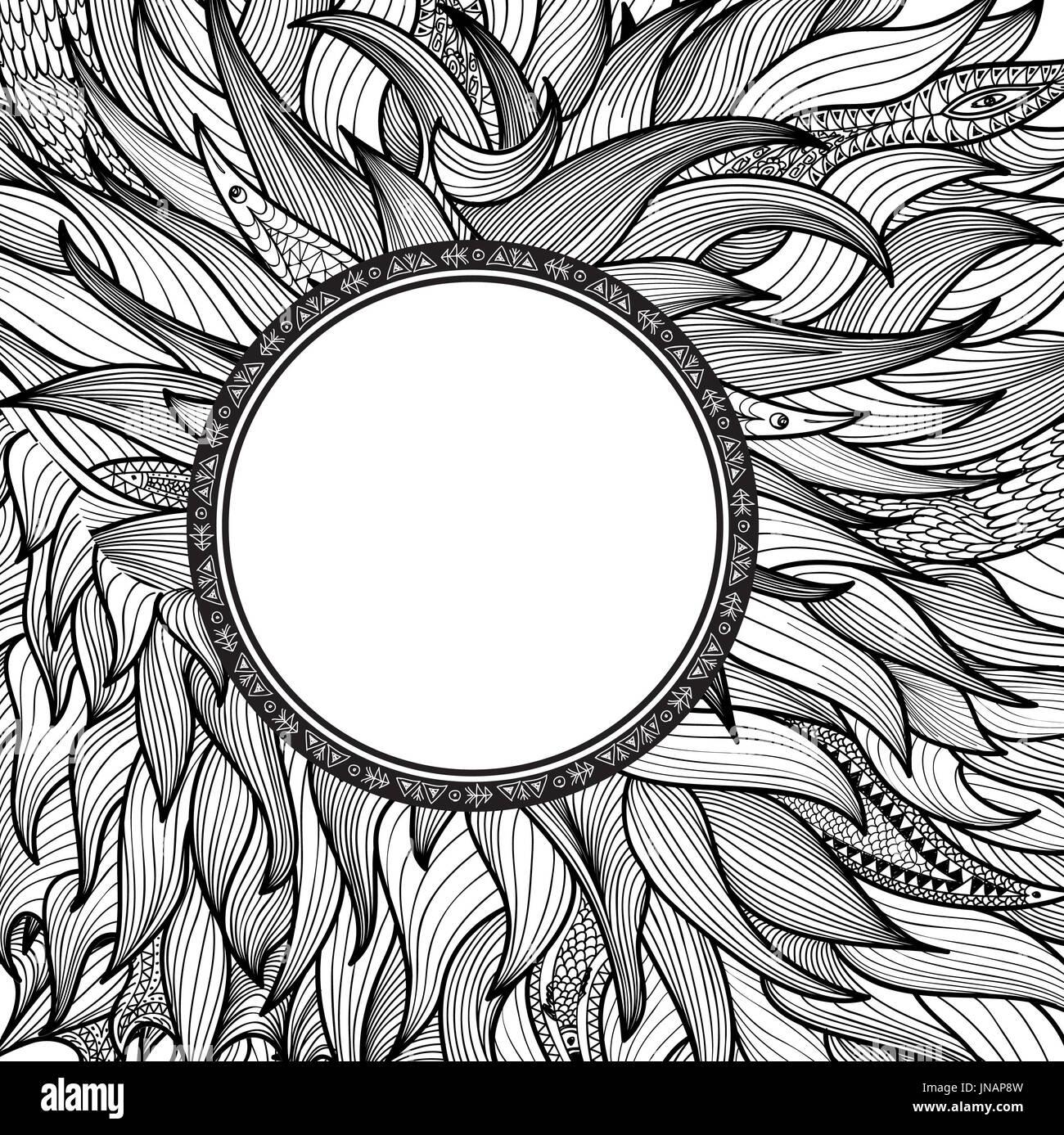 abstraktes ornament fr tatoo zentangle muster runde form stilisierter grenze indische arabische mandala zierpflanzen hintergrund mit rahmen in - Zentangle Muster