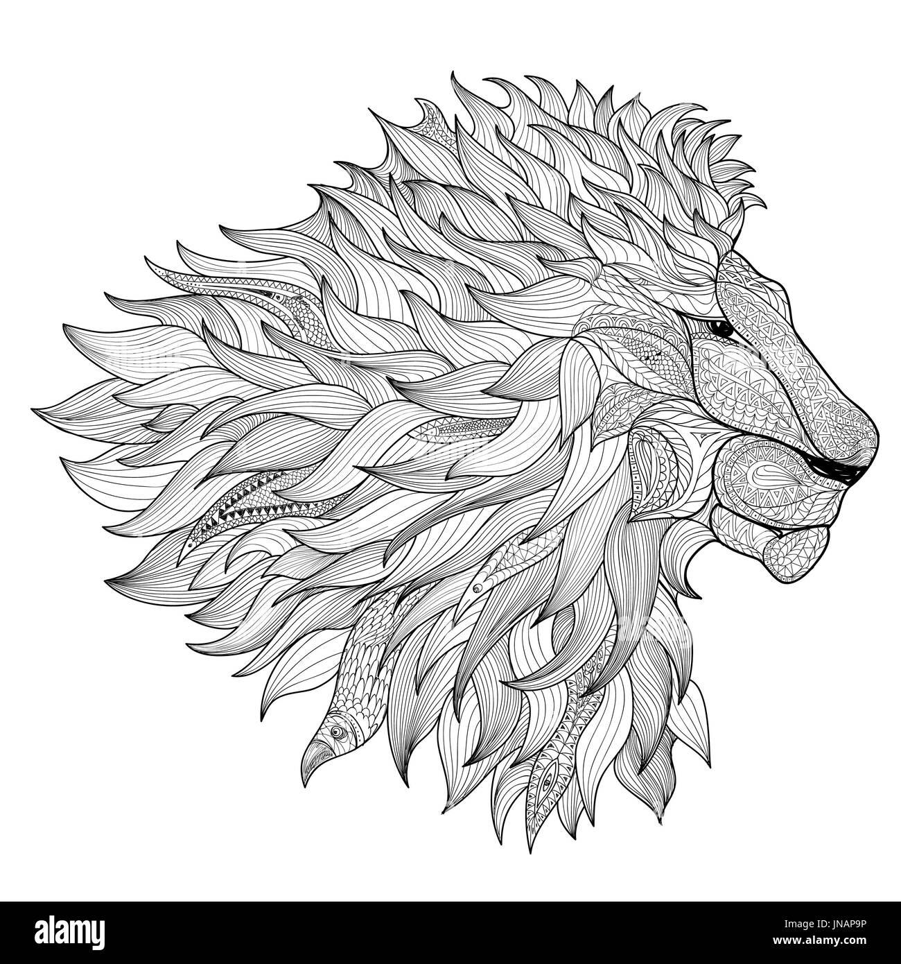 Lion Isoliert Tier Zentangle Handgezeichnete Abbildung