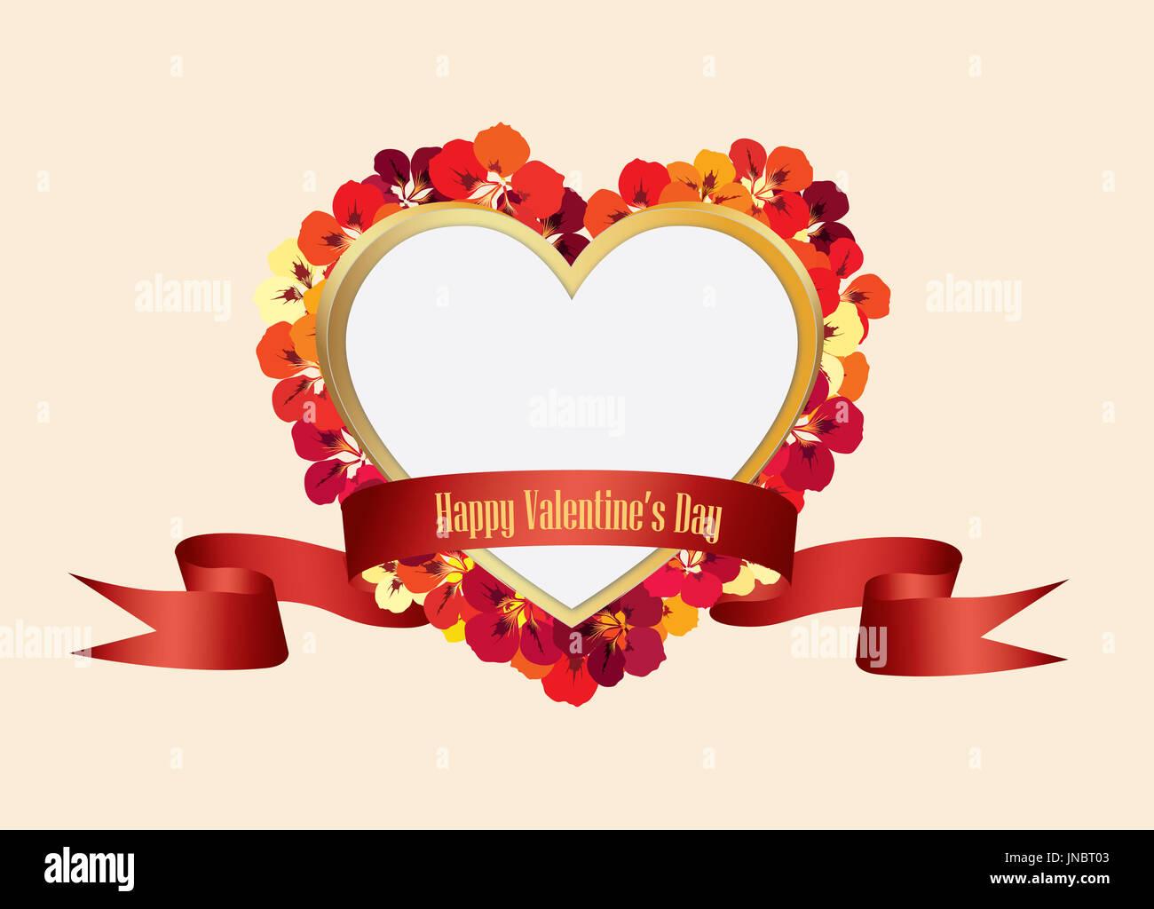 Valentines Tag Blumen Grußkarte. Blume Rahmen mit Liebe Herzform ...