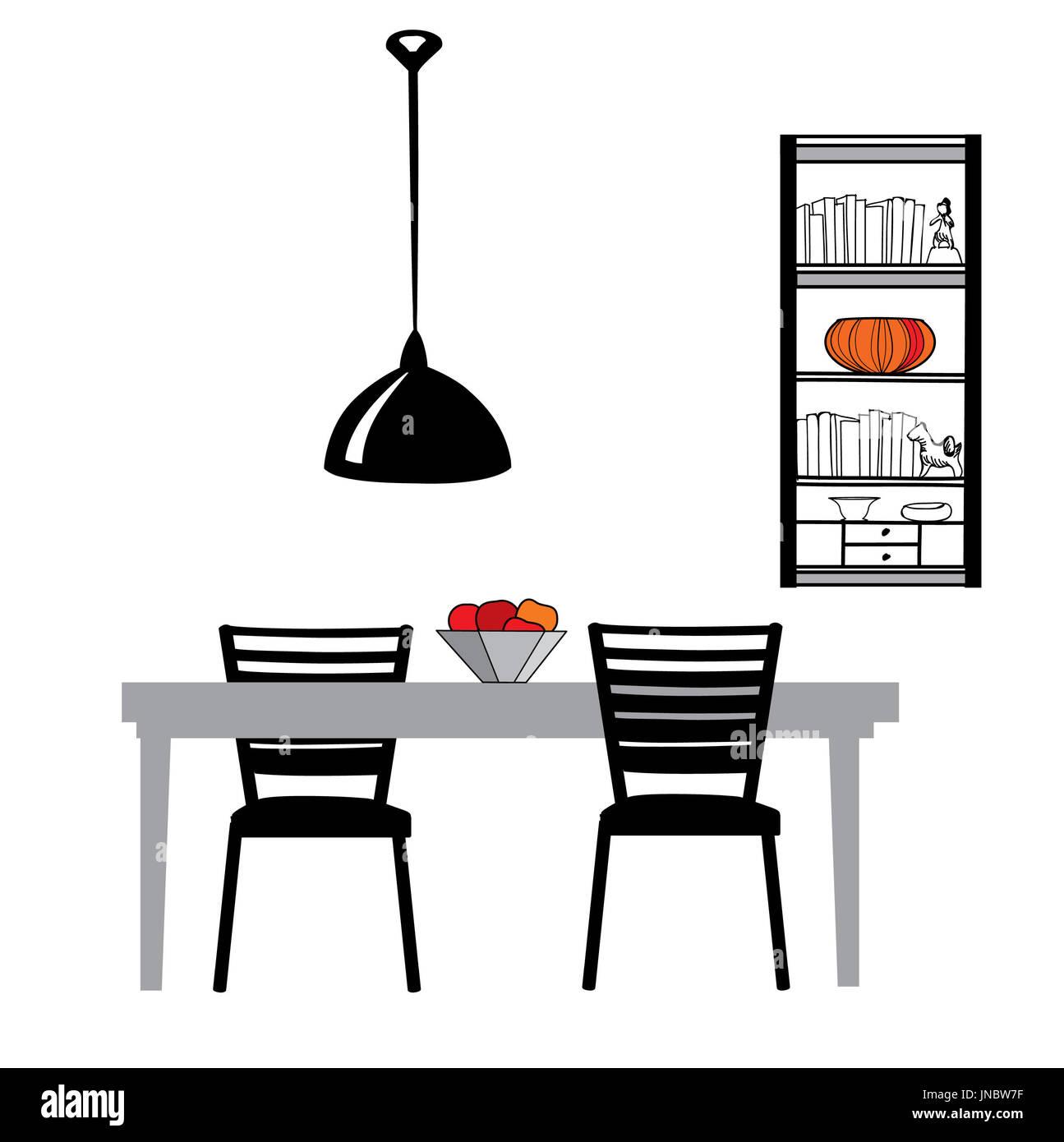 Möbel für die Küche: Tisch, Stühle, Lampen und Schrank Esszimmer ...