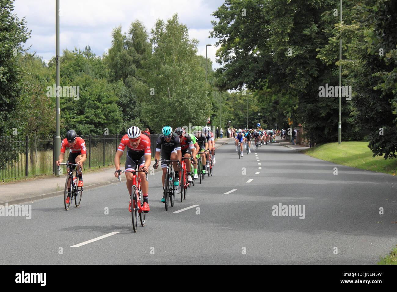 Von links nach rechts: André Greipel (Lotto-Saudal), Matthias Brändle (Trek-Segafredo), Pascal Ackermann (Bora-Hansgrohe) und Manuel Quinziato (BMC Racing). RideLondon-Surrey Klassiker. Hurst Road, East Molesey, Surrey, UK. 30. Juli 2017. UCI World Tour klassifiziert, Tages-140km Straßenlauf Start und Ziel im Zentrum von London. Die Route basiert auf den Kurs für die Olympischen Spiele 2012 verwendet und nimmt dem Fahrer aus London in Surrey Hills. Bildnachweis: Ian Flasche/Alamy Live-Nachrichten Stockbild