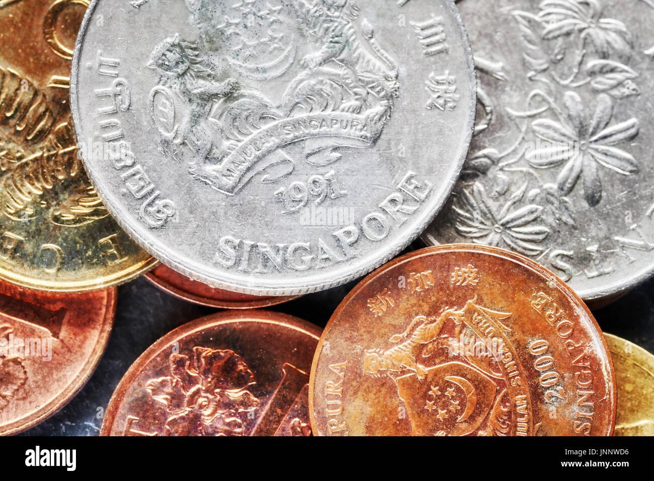 Nahaufnahme Bild Von Singapur Dollar Münzen Geringe Schärfentiefe