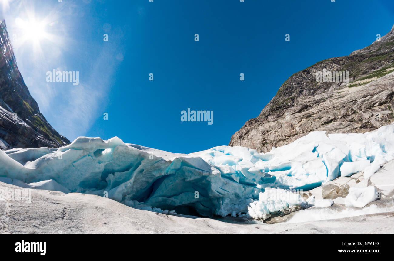 Blick auf Nigardsbreen - Jostedalsbreen Gletscher in Norwegen Stockfoto