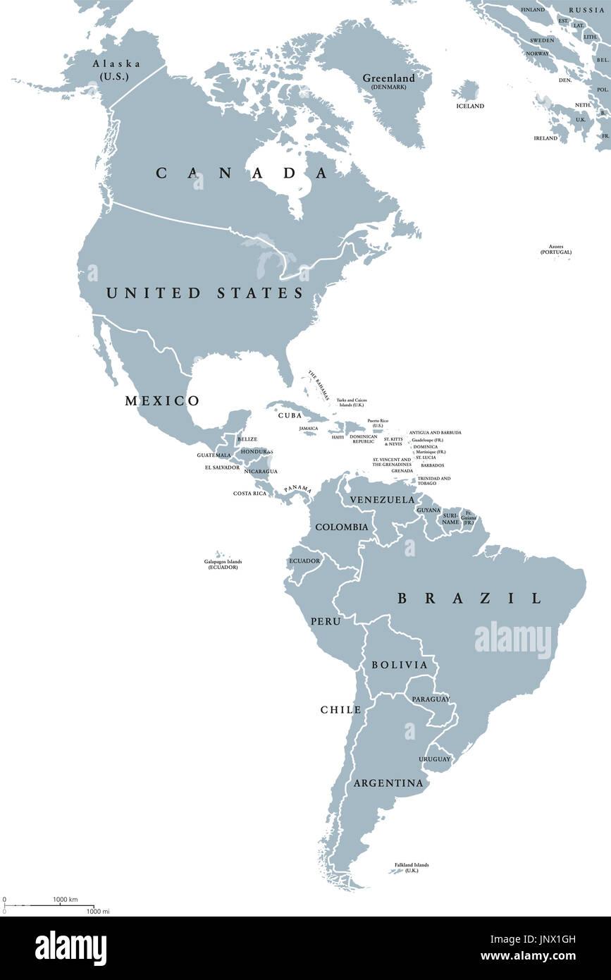 Amerikas Politische Karte Von Lander Und Grenzen Der Beiden