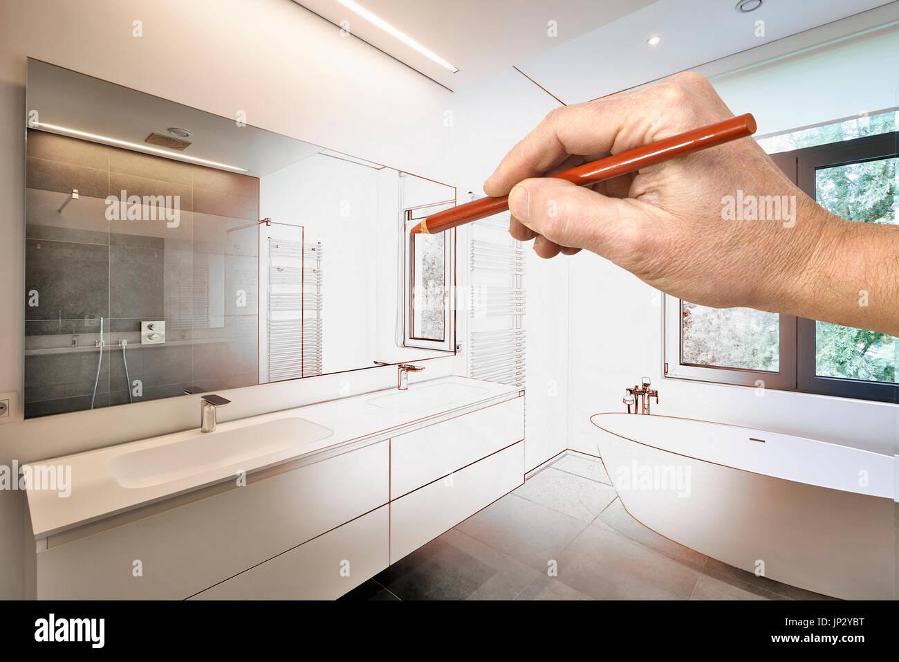 Zeichnung Sanierung Ein Modernes Luxus Bad, Badewanne In Corian, Wasserhahn  Und Dusche Im Badezimmer Mit Fenster Zum Garten