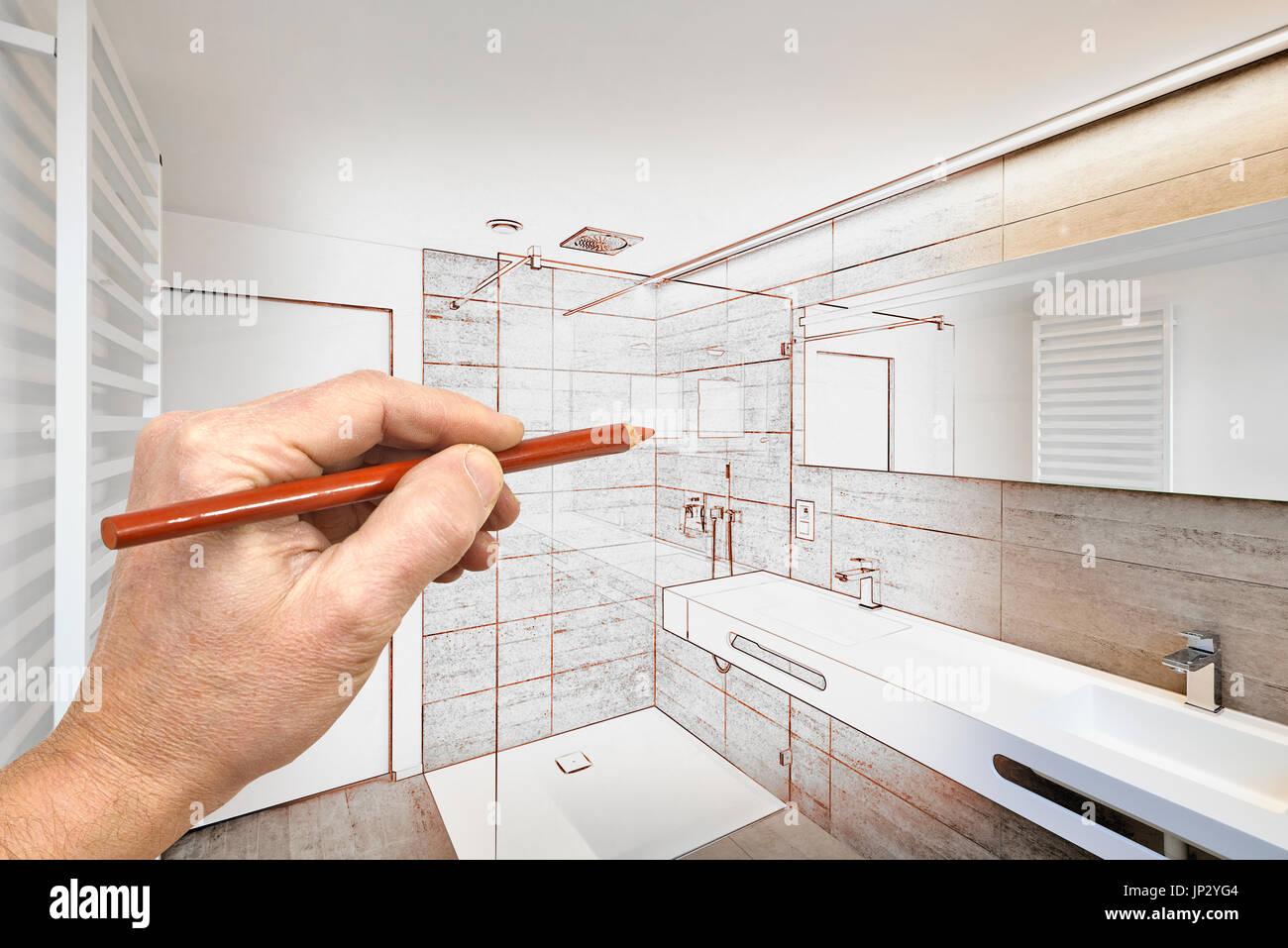 renovierung einer luxus badezimmer anwesen nach hause dusche zeichnen stockfoto bild 151270900. Black Bedroom Furniture Sets. Home Design Ideas