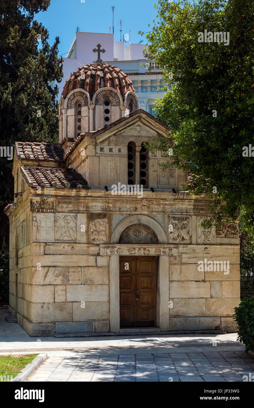 Kirche des Agios Eleftherios oder kleine Metropole, Athen, Attika, Griechenland Stockbild